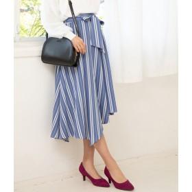 ひざ丈スカート - ViS ツイルアシメヘムベルト付スカート