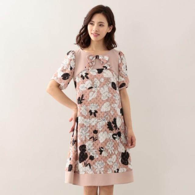 SALE【トゥー ビー シック(TO BE CHIC)】 カットジャカードフラワープリントドレス ピンク
