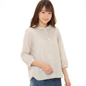 シャツ ブラウス レディース アイレットレース刺繍七分袖ブラウス【日本製】 「グレージュ」