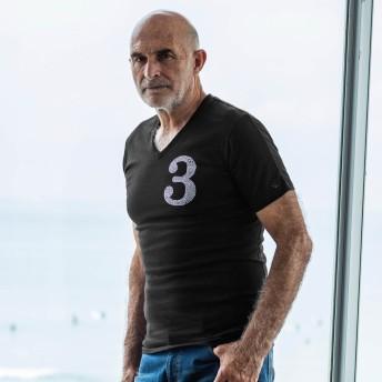 Tシャツ - SHIFFON 1PIU1UGUALE3 RELAX(ウノピゥウノウグァーレトレ)ラインストーン3ロゴVネックTシャツ(ホワイト/ネイビー/ブラック)