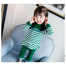 韓国 こども服 春秋着 新作 女の子 2点セット 可愛いスタイル ストライプ トップス+無地 パンツ 子供服 普段着bcx442