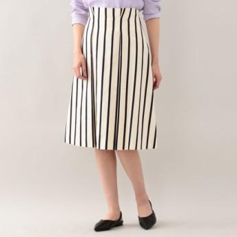 SALE【アマカ(AMACA)】 メタリックピンストライプタックフレアースカート オフホワイト