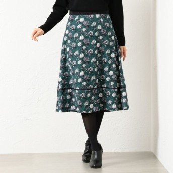 SALE【アマカ(AMACA)】 DECADENT BLOOMSフレアースカート カーキ