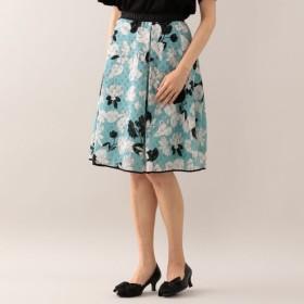 SALE【トゥー ビー シック(TO BE CHIC)】 ★★カットジャカードフラワープリントスカート サックスブルー