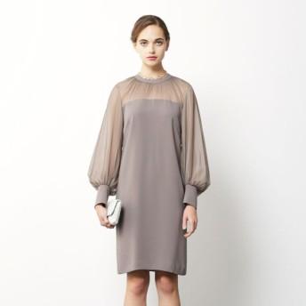 【エポカ(EPOCA)】 バックサテンジョーゼット ドレス キャメル1