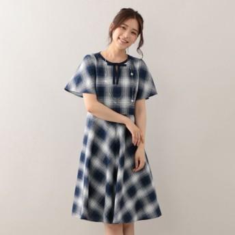 SALE【トゥー ビー シック(TO BE CHIC)】 ★★オンブレーチェックドレス ネイビー