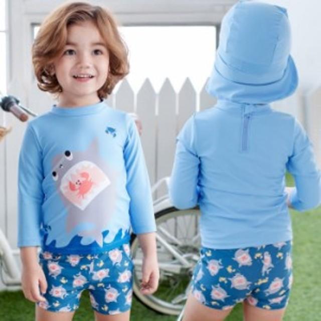 449563f6c0255e 男の子水着/長袖保護するセパレート水着 ビーチの日焼けも心配しない!サメ. トップ キッズ・ ...