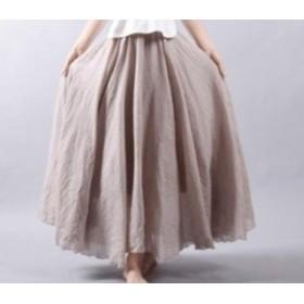 フレアスカート 95㎝ 綿 麻 レディース