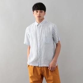 SALE【エムピー ストア(MP STORE)】 麻ストライプ ショートポイントカラーシャツ ホワイトストライプ