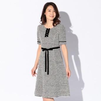 SALE【トゥー ビー シック(TO BE CHIC)】 カールヤーンツイードドレス ホワイト×ブラック