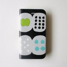 iPhone8/iPhone7/iPhone6s手帳型ケース(北欧の果樹園/ブラック)