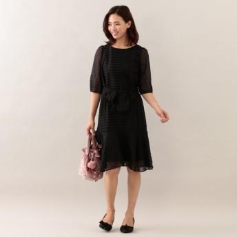 SALE【トゥー ビー シック(TO BE CHIC)】 ★★ドットボーダージャカードドレス ブラック