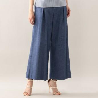 SALE【アマカ(AMACA)】 メランジシャークストレッチワイドパンツ ブルー