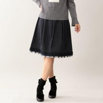 SALE【トゥー ビー シック(TO BE CHIC)】 チェックツイードコンビデニムスカート ネイビー