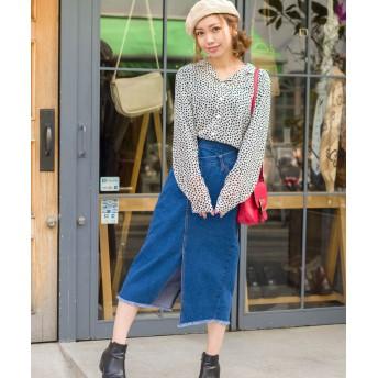 ひざ丈スカート - SpRay リメイク風デニムミディスカート