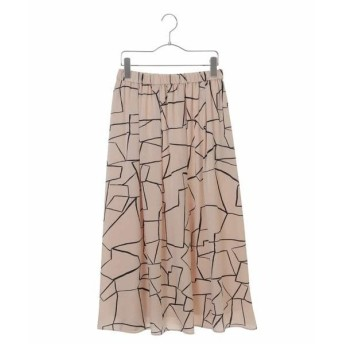 HIROKO BIS / ヒロコビス 【洗える】線画タッチ プリントギャザースカート