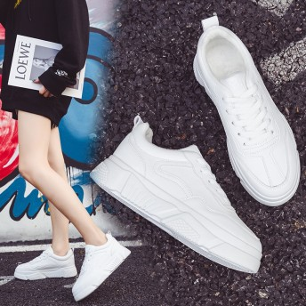 韓国ファッションスニーカー / 運動靴 / スニーカー レディース ローカット / 軽量 通気性/ スニーカー / ハイクォリティ シューズ ホワイト
