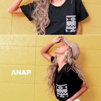 【セール開催中】ANAP(アナップ)ネイティブ柄ポケット付Tシャツ