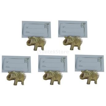Dovewill 5セット パーティー 好意 装飾 豪華な ホルダー ウェディング ゴールド 象 場所カード