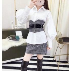 ツーピース 上下セット ホワイトシャツ ミニスカート サッシュベルト タータンチェック グレー スーツ オシャレ 可愛い エレガント