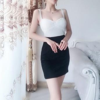 スリムドレス 2色 ホワイト ブラック リボンデザイン タイトスカート 美ライン パーティ フォーマル 上品 セクシーキュート ミニワンピ