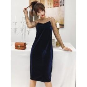 ベルベット Aライン チュニック ドレス ワンピース シースルー*韓国新作*送料込