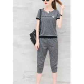 夏物レディース 運動服ジャージ短袖Tシャツと七分丈パンツの2点セット 上下セットアップ/カジュアル/ジョギング5色クロップドパンツ