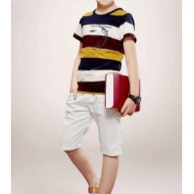 2点送料無料ジュニア男の子チノパンツ/キッズTシャツと短パンの二点セット短袖Tシャツ/ハーフパンツ入園式ボーダー上下セットアップ