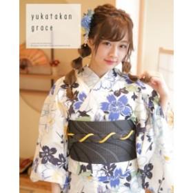 浴衣 3点セット(浴衣/帯/下駄) 白 青 黒 桜 さくら なでしこ レトロ 可愛い フリーサイズ 【送料無料】