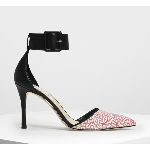 パターンワイド アンクルラップヒール / Patterned Wide Ankle Wrap Heels (Red)