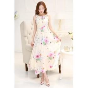 ロングワンピース サマードレス 2種 花柄 ピンク 羽根 フェザー ノースリーブ ラウンドネック 上品 可憐 エレガント お嬢様 春夏 新作