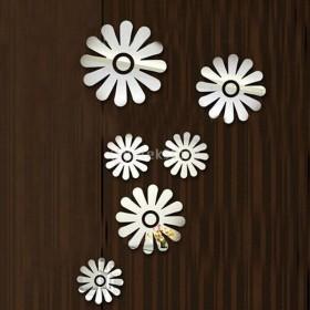 ノーブランド品ウォールステッカー 鏡効果 ミラー効果 剥がせる 6枚 花