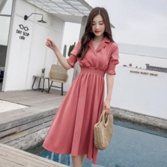 エレガントワンピース サマードレス シャーリング フレアースカート 五分袖 上品 エレガント 2色 ピンク ベージュ ホワイト 清楚
