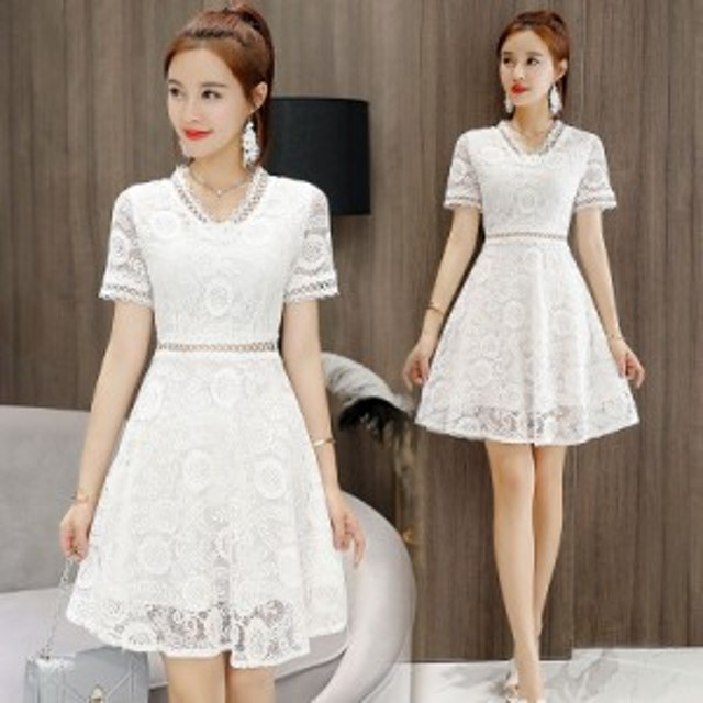 お嬢様ワンピース レース フレアースカート Aライン パーティドレス 4色 ベージュ ホワイト ピンク ブラック 無地 清楚 可愛い 上品