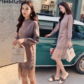 2019新しい 甘い 初恋の感じ 気質 女性 可愛いプリント 韓国ファッション CHIC気質 大きいサイズ 女性 長袖 ニットワンピース ボトミングシャツドレス