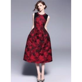 ノースリーブ ドレス ワンピース 赤×黒*韓国新作*結婚式パーティコーデ