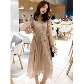 フリル フェミニン 2Color シフォン ドレス ワンピース*韓国新作*送料込