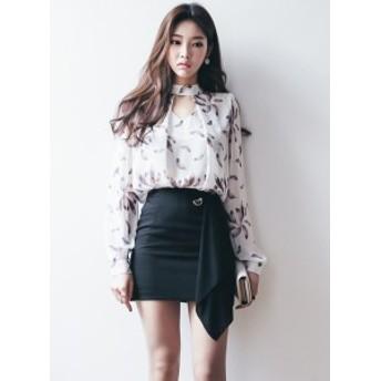 シフォン花ブラウス+タイトスカート セットアップ*韓国新作*オフィスコーデ