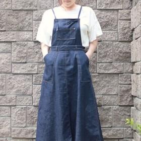 岡山デニムのサロペットフレアスカート