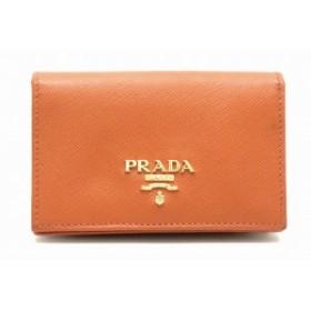 プラダ SAFFIANO カードケース パスケース 名刺入れ 定期入れ 型押しレザー ブラウン 茶 ゴールド金具 1MC122