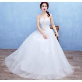 レディース ウェディングドレス 高品質ブライダルドレス花嫁 チュールワンピ 注目ビスチェ結婚式  披露宴カラードレス 美品ホワイト