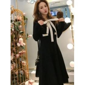 ニット フォーマル ドレス ワンピース 2Color リボン*韓国新作*送料込
