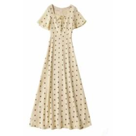 お嬢様ワンピース ドット柄 水玉 ロングワンピース フレアースカート 半袖 フレアー袖 美ライン Aライン サマードレス 清楚 可愛い 上品