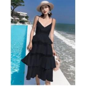 ロング リゾート ドレス 2Color キャミ タンク ワンピース ティアード*韓国新作*送料込