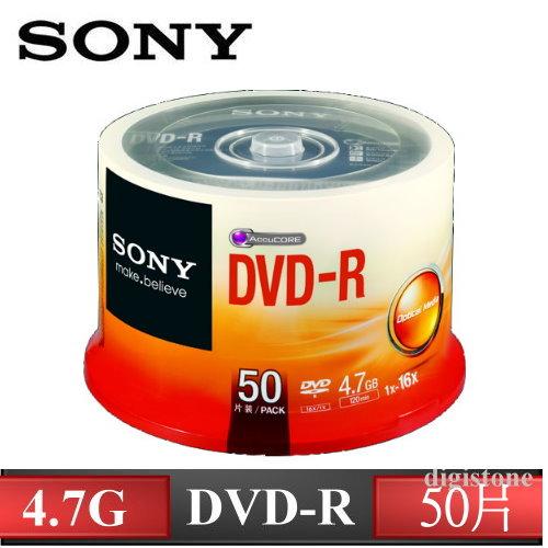 SONY 16X DVD-R 燒錄片 4.7GB 原廠50片布丁桶裝