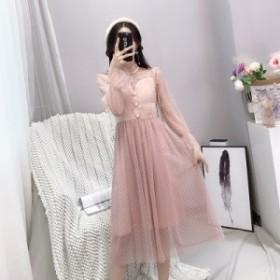 お嬢様ワンピース 2色 ホワイト ピンク フレアー フリル Aライン チュール ハートカット ガーリー 姫系 プリンセス ロングドレス