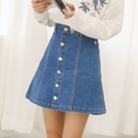 デニムスカート Aライン 台形 スリム ミニ丈 カジュアル ジーンズ ブルー ワンポイント刺繍 小花 フロントボタン シンプル 新作