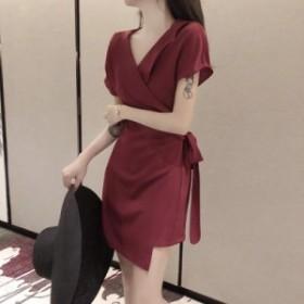 エレガントワンピース 2色 ワインレッド ブラック 無地 半袖 Vネック カシュクール 巻きスカート風 ラップデザイン ミニドレス 上品
