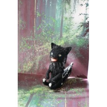 羊毛フェルト 黄色い目の黒オオカミ 狼 ハンドメイド テディベア 人形