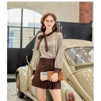 お嬢様コーデ ブラウス スカート 長袖 ブラウン チェック 秋 リボン サイドプリーツスカート ミニスカート 可愛い キュート ガーリー